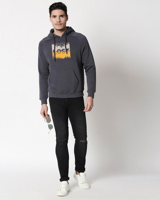 Shop Lost in Time Stylised Panel Hoodie Sweatshirt-Full