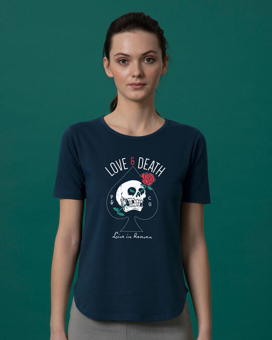 Shop Love And Death Basic Round Hem T-Shirt-Front