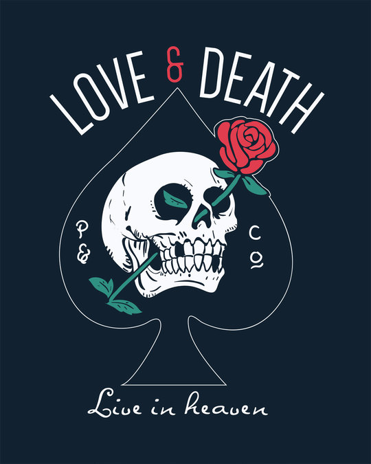Shop Love And Death Half Sleeve T-Shirt