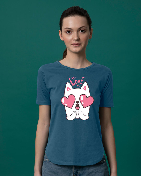 Shop Love Cat Basic Round Hem T-Shirt-Front