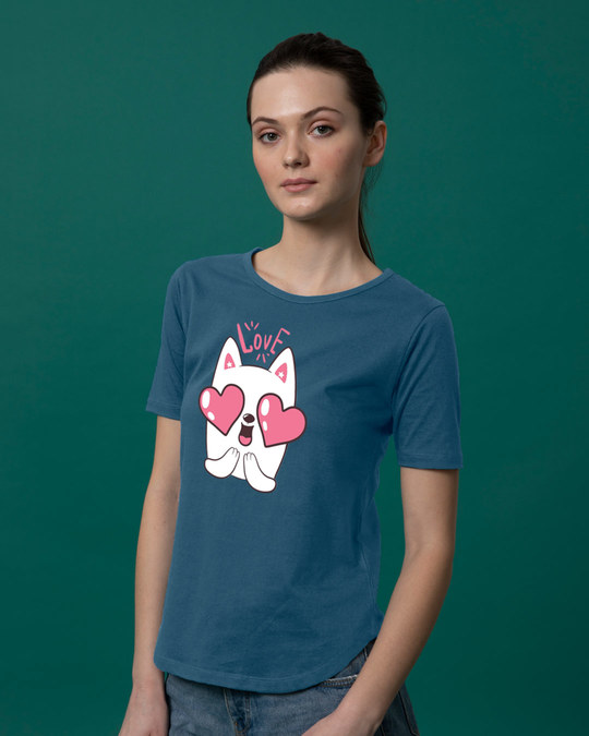 Shop Love Cat Basic Round Hem T-Shirt-Back