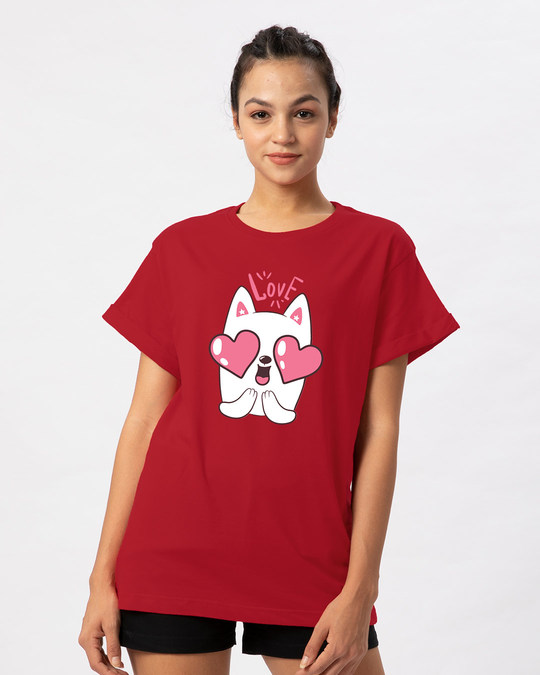 Shop Love Cat Boyfriend T-Shirt-Front