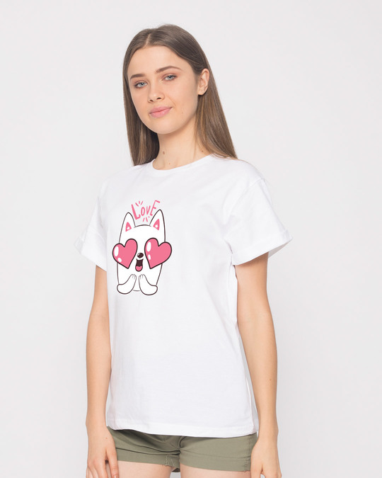 Shop Love Cat Boyfriend T-Shirt-Back