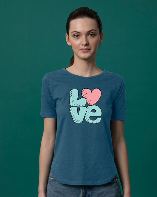 Shop Love Heart Basic Round Hem T-Shirt-Front