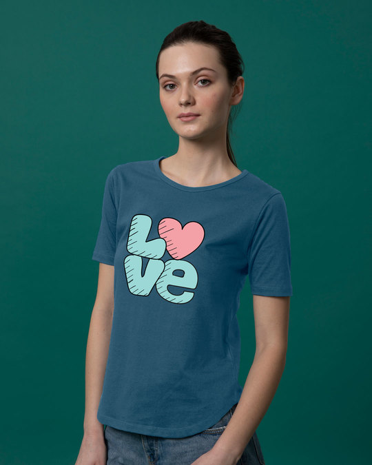 Shop Love Heart Basic Round Hem T-Shirt-Back