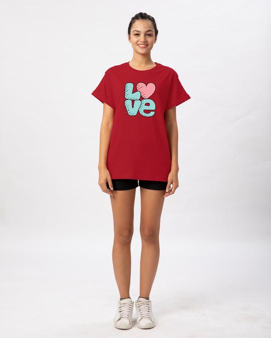 Shop Love Heart Boyfriend T-Shirt-Full