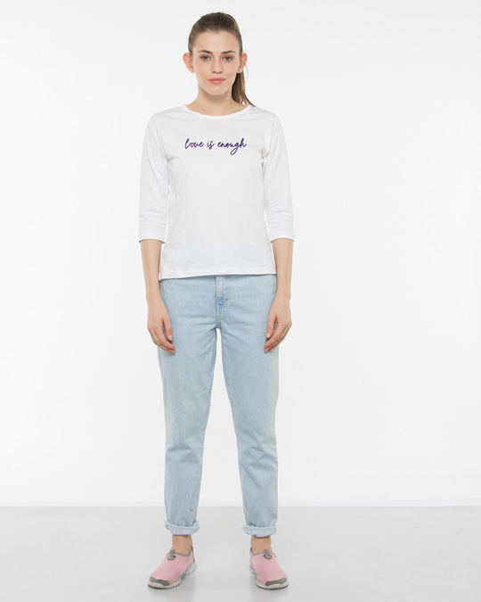 Shop Love Is Enough Round Neck 3/4th Sleeve T-Shirt-Full