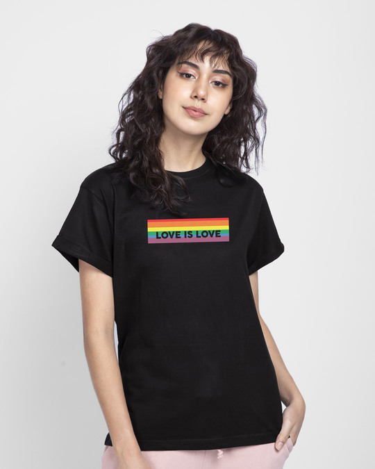 Shop Love Is Love Boyfriend T-Shirt-Front