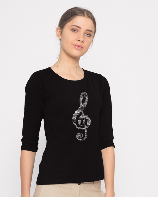 Shop Love Music Round Neck 3/4th Sleeve T-Shirt-Back