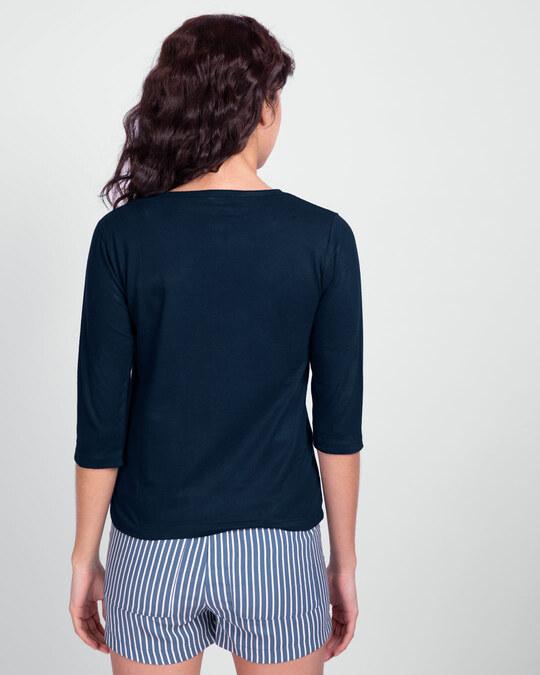Shop Love Peace Respect Round Neck 3/4 Sleeve T-Shirt - Navy Blue-Back