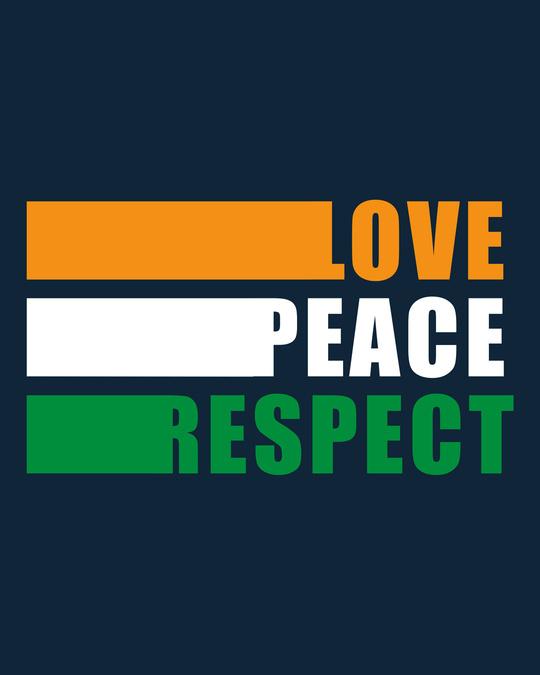 Shop Love Peace Respect Round Neck 3/4 Sleeve T-Shirt - Navy Blue