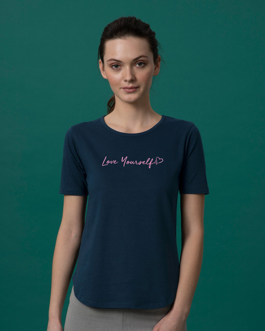 Shop Love Yourself Basic Round Hem T-Shirt-Front