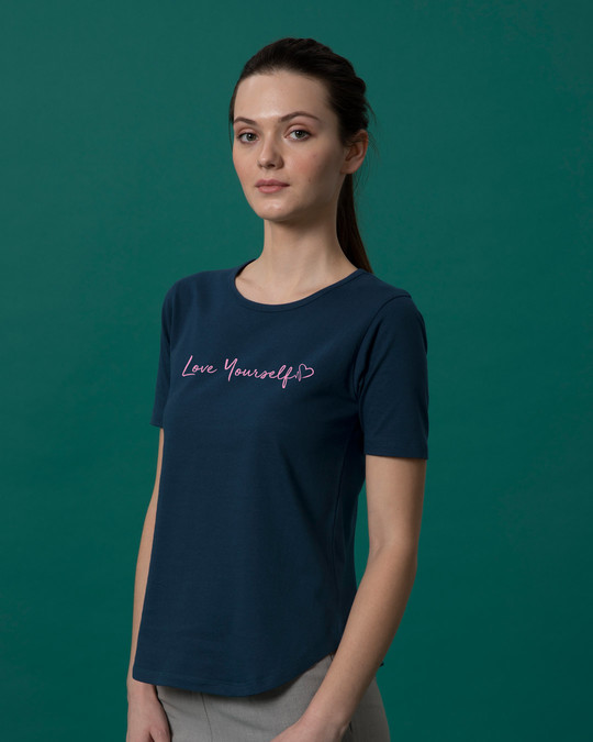 Shop Love Yourself Basic Round Hem T-Shirt-Back