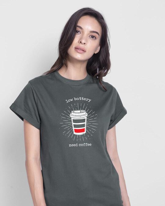 Shop Low Battery Coffee Boyfriend T-Shirt-Front