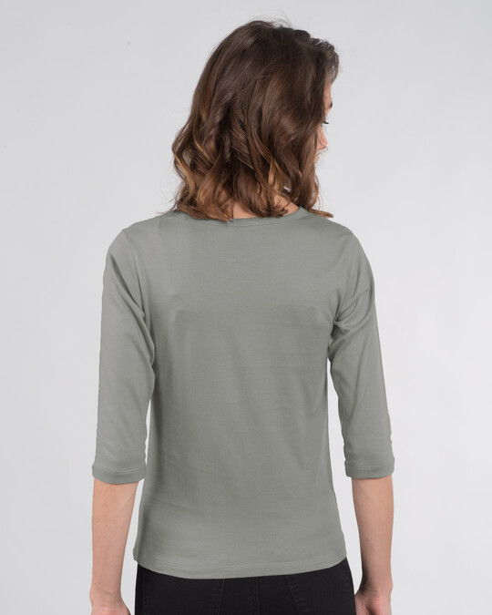 Shop Low Battery Coffee Round Neck 3/4th Sleeve T-Shirt-Back