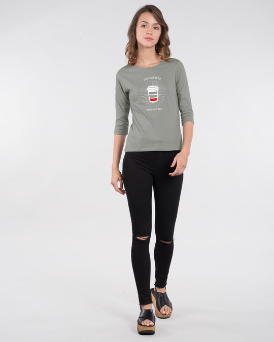 Shop Low Battery Coffee Round Neck 3/4th Sleeve T-Shirt-Full