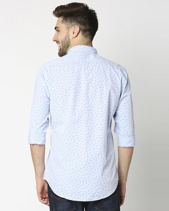 Shop Light Blue Cotton Melange Shirt-Full