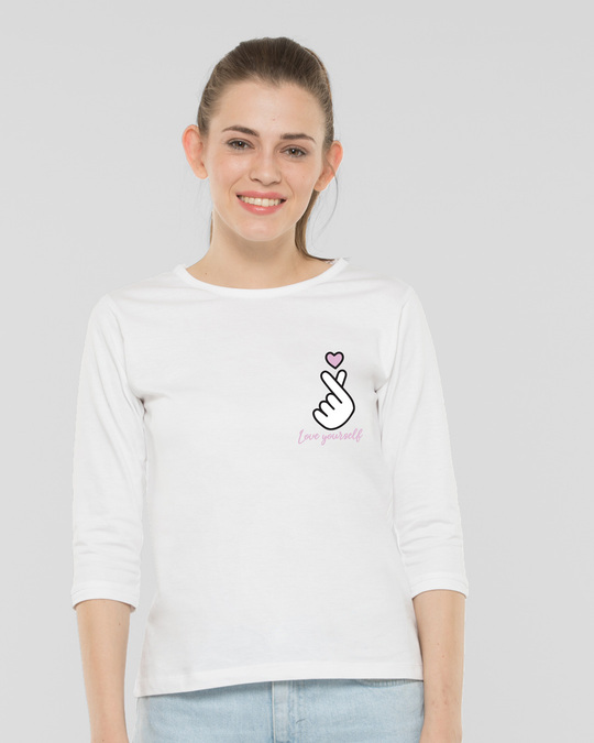 Shop Ly Bts Army Round Neck 3/4th Sleeve T-Shirt White-Back