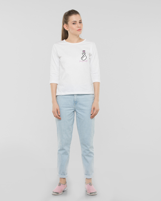 Shop Ly Bts Army Round Neck 3/4th Sleeve T-Shirt White-Full