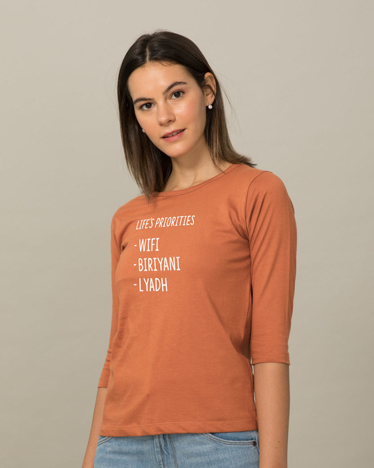 Shop Lyadh Repeat Round Neck 3/4th Sleeve T-Shirt-Back
