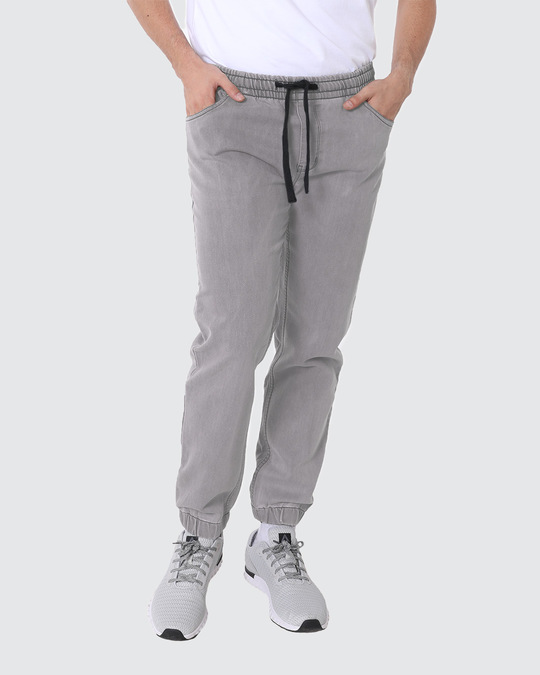 Shop Machine Grey Denim Joggers-Front