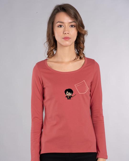 Shop Magical Pocket Scoop Neck Full Sleeve T-Shirt (HPL)-Back