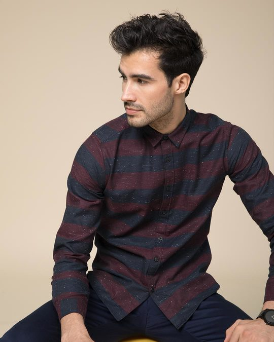 Shop Mahogany Red Neps Slim Fit Full Sleeve Shirt-Front