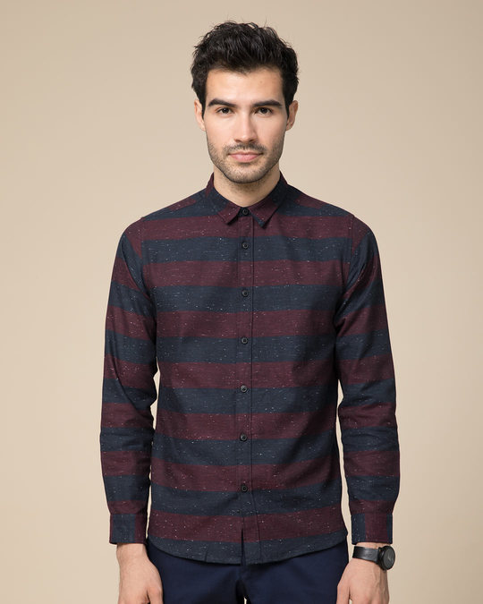Shop Mahogany Red Neps Slim Fit Full Sleeve Shirt-Back
