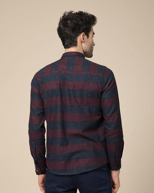 Shop Mahogany Red Neps Slim Fit Full Sleeve Shirt-Full
