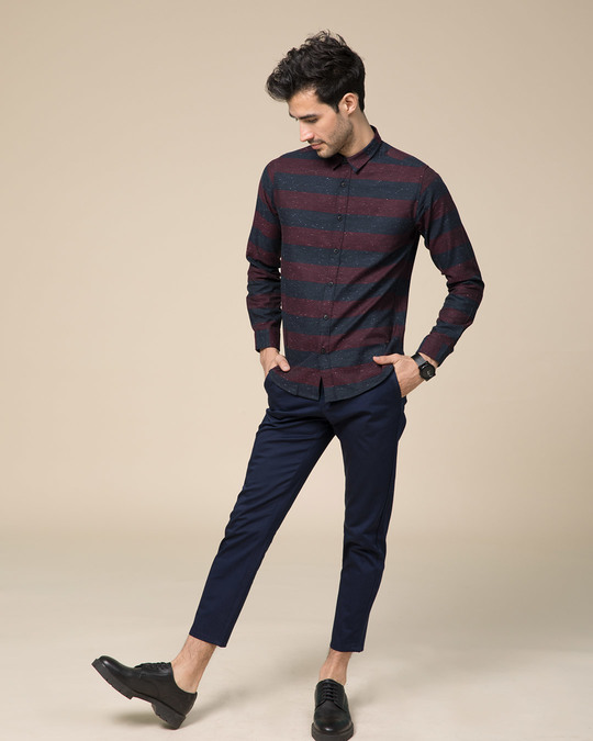 Shop Mahogany Red Neps Slim Fit Full Sleeve Shirt
