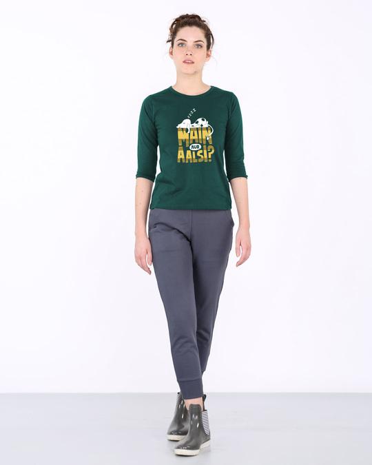 Shop Main Aur Aalsi Round Neck 3/4th Sleeve T-Shirt