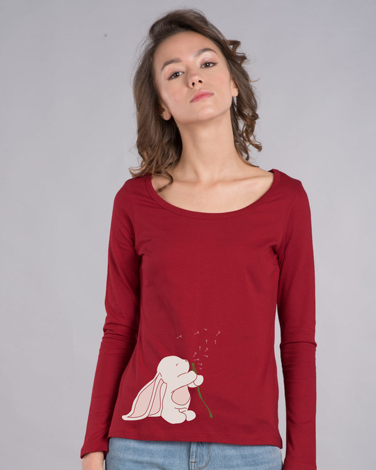 Shop Make A Wish Bunny Scoop Neck Full Sleeve T-Shirt-Front
