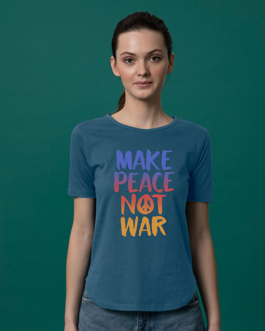 Shop Make Peace Colorful Basic Round Hem T-Shirt-Front
