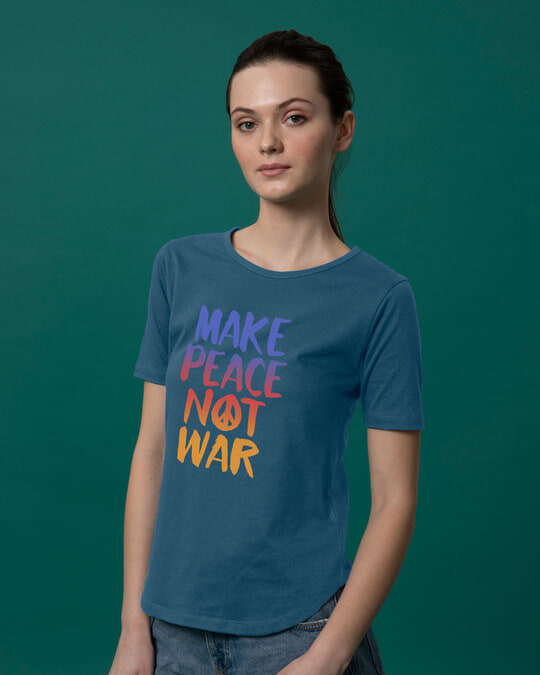Shop Make Peace Colorful Basic Round Hem T-Shirt-Back
