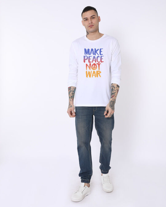 Shop Make Peace Colorful Full Sleeve T-Shirt-Full