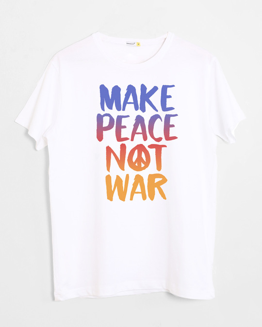 Shop Make Peace Colorful Half Sleeve T-Shirt-Front