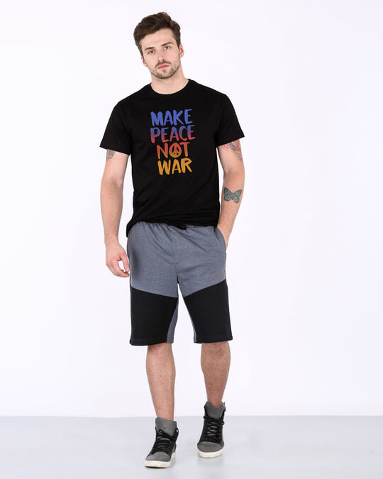 Shop Make Peace Colorful Half Sleeve T-Shirt