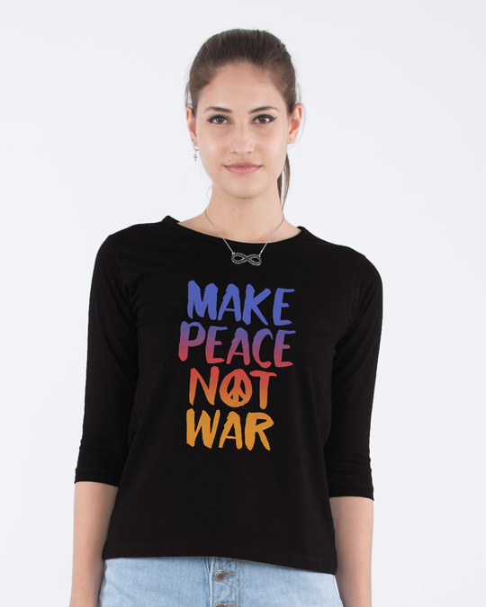Shop Make Peace Colorful Round Neck 3/4th Sleeve T-Shirt-Front