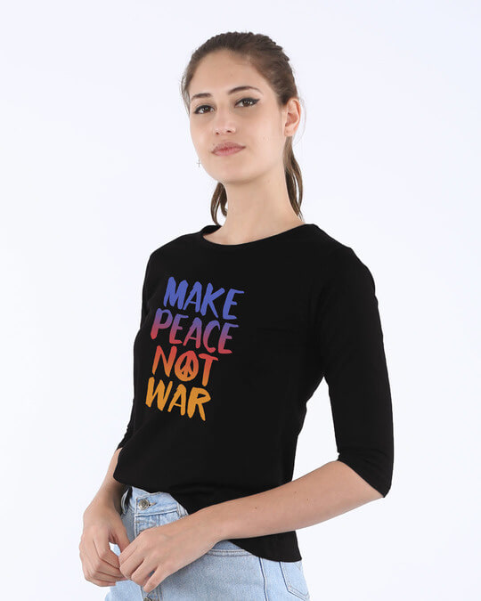 Shop Make Peace Colorful Round Neck 3/4th Sleeve T-Shirt-Back