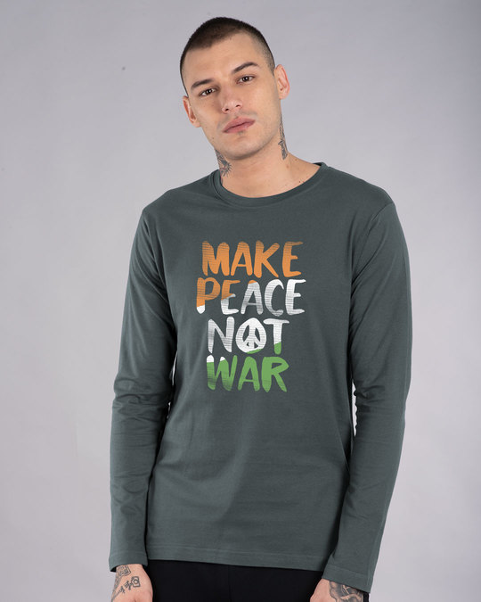 Shop Make Peace Tricolor Full Sleeve T-Shirt-Front