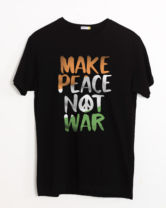 Shop Make Peace Tricolor Half Sleeve T-Shirt-Front