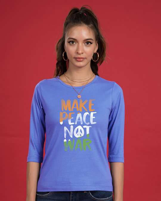 Shop Make Peace Tricolor Round Neck 3/4th Sleeve T-Shirt-Front