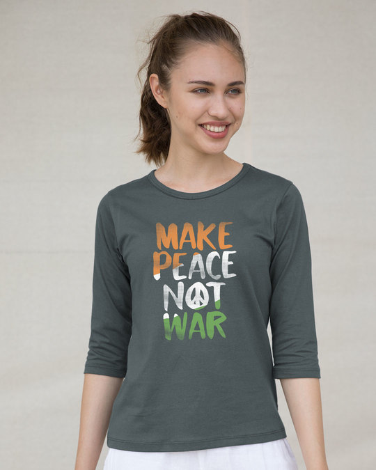 Shop Make Peace Tricolor Round Neck 3/4th Sleeve T-Shirt-Full