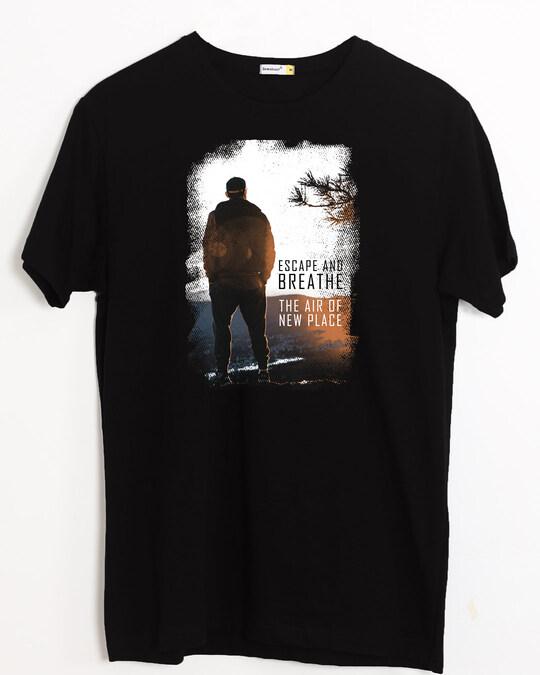 Shop Make Tracks Half Sleeve T-Shirt Black-Back
