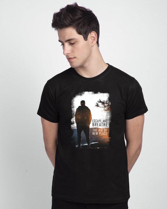 Shop Make Tracks Half Sleeve T-Shirt Black-Front