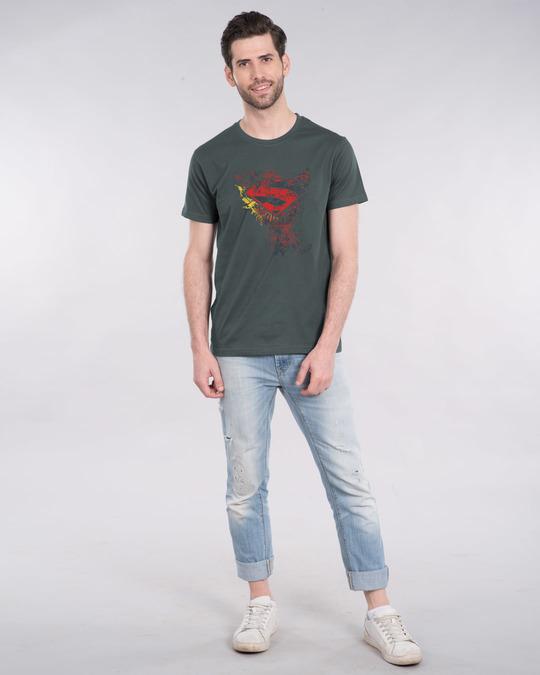 Shop Man Of Steel Emblem Half Sleeve T-Shirt (SL)-Design
