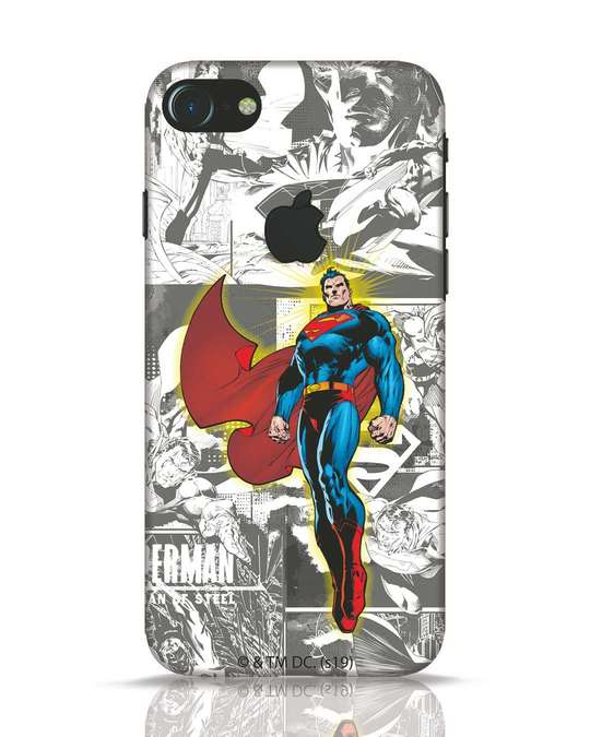 Shop Man Of Steel Panel iPhone 7 Logo Cut Mobile Cover (SL)-Front