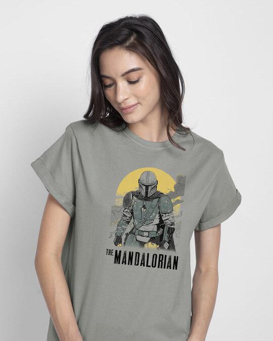 Shop Mandalorian Walking Boyfriend T-Shirt (SWL)-Front