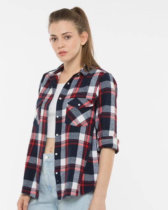 01f02cc8e3f Buy Manhattan Checks Shirt Women's Casual Shirts Online India ...