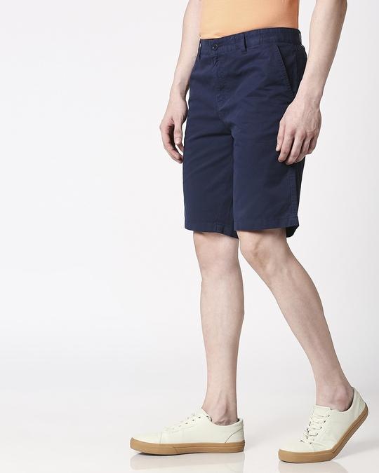 Shop Marine Blue Plain Shorts-Design